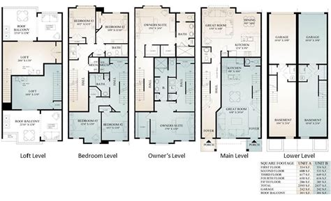 floor plan townhouse luxury townhome floor plans gurus floor