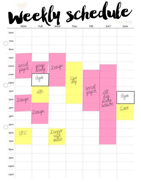 printable study planner weekly schedule printable weekly timetable a4 weekly