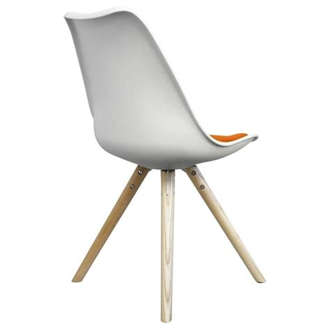 Light Wood Dining Chairs Buy Eiffel Inspired White And Orange Dining Chair With Light Wood Legs