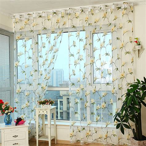 flowered sheer curtains discount gauze yellow floral pattern sheer curtains