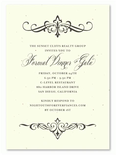 free dinner invitation templates printable exle of