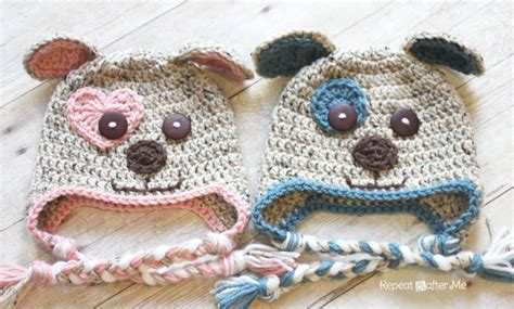 crochet puppy hat crochet puppy hat pattern repeat crafter me