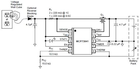 lithium polymer battery charger mcp73841 lithium ion lithium polymer chargher schematic