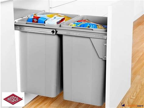 Door Mounted Kitchen Garbage Can With Lid by Cupboardware Wesco Pull Out Waste Bin 52 Litre Door