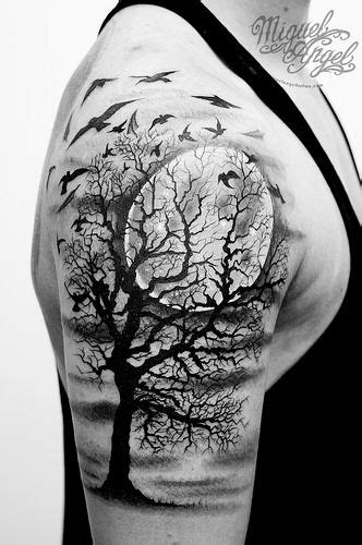 full custom tattoo tree birds and moon custom tatues