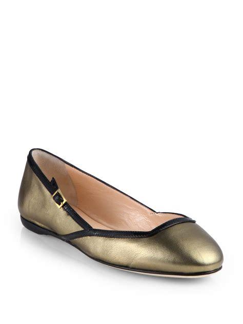 calvin klein shoes flats calvin klein eda metallic leather ballet flats in gold