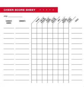 sample cheerleading tryout score sheet 4 documents in pdf