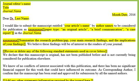 How To Write A Cover Letter For A Manuscript Submission