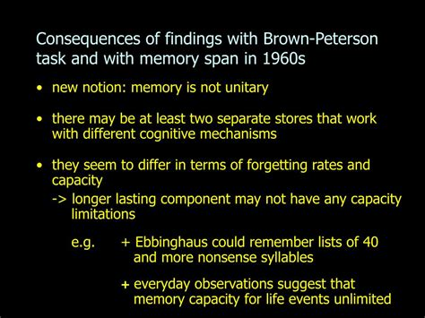 memory span ppt memory experiments of ebbinghaus examination of forgetting curve with savings