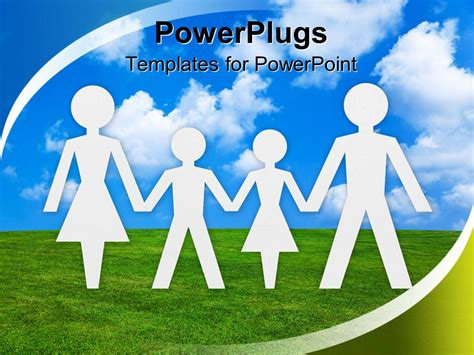 Powerpoint Template White Paper Cut Human Figures Forming Family On Blue Sky Background 11728 Powerpoint Templates Family