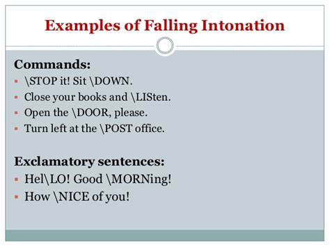 exles of sentences with intonation pattern shift in stress and intonation