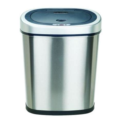 nine 11 1 gal stainless steel touchless trash can