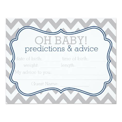 template for baby shower advice cards grey and blue chevron predictions advice card zazzle
