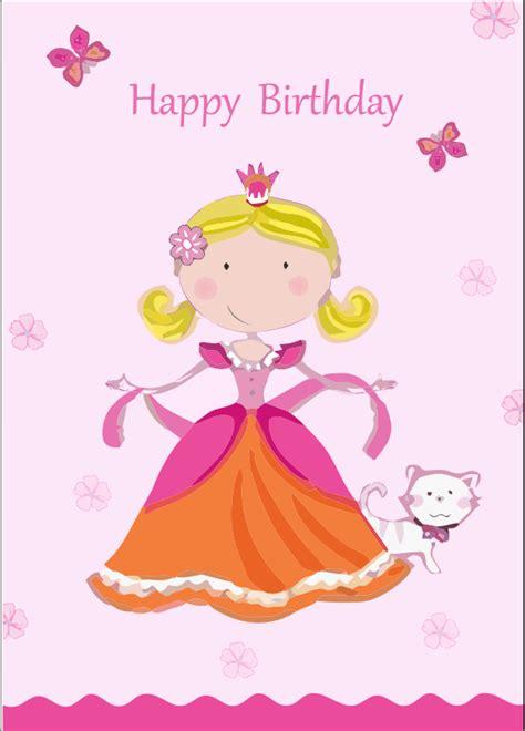 happy birthday princess card template happy birthday card with princess vector