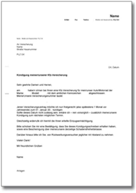 Schreiben Haftpflichtversicherung Muster K 252 Ndigung Der Kfz Versicherung Muster Vorlage Zum