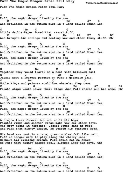 printable lyrics for puff the magic dragon summer c song puff the magic dragon peter paul mary