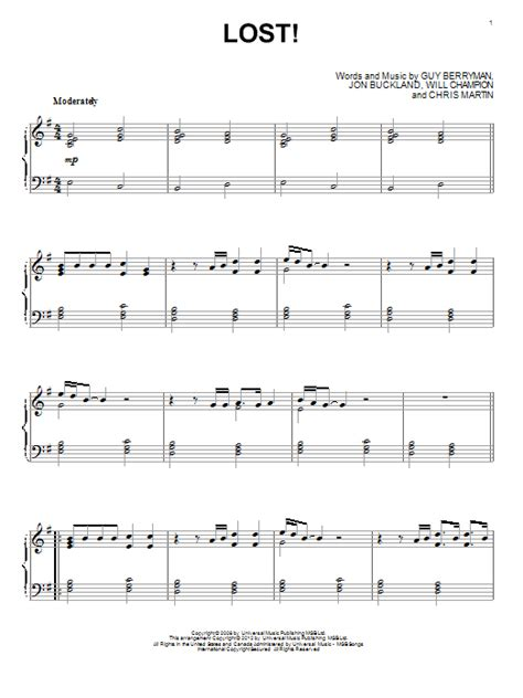 coldplay lost lyrics coldplay lost sheet music