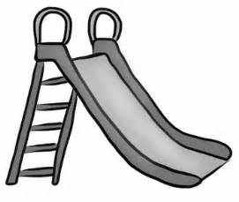 This is a simple line drawing of a playground slide it comes in black