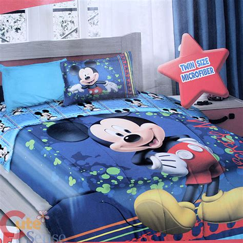 mickey bedding disney mickey mouse twin bedding comforter set 3pcs sheet pillow bedding set ebay