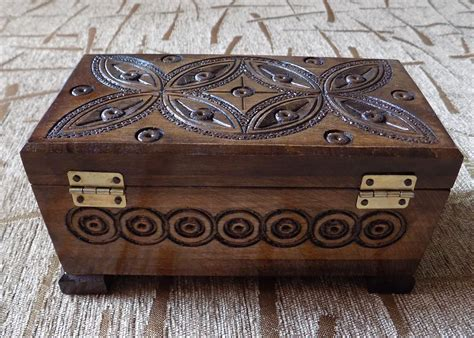 Wooden Jewelry Box Handmade - unique wooden handmade and carved jewelry box for ring