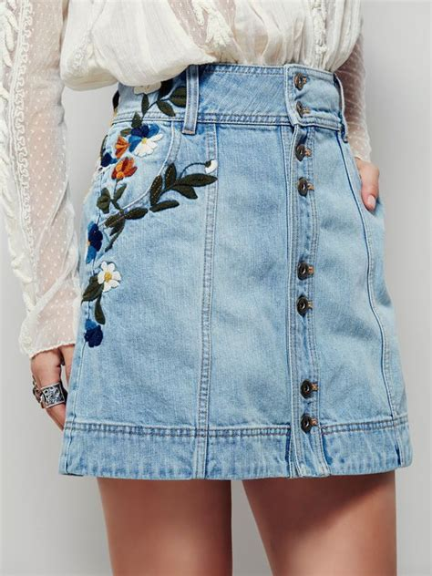 denim skirts denim mini skirt and floral embroidery on