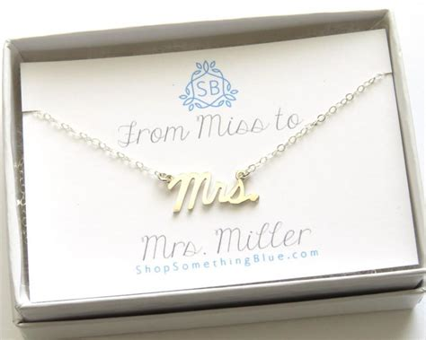 Scripts Gift Cards - new bride gift mrs script necklace custom married name card cursive mrs