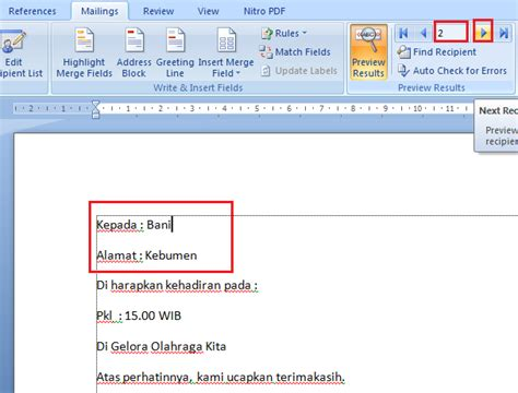 untuk membuat mail merge perintahnya terdapat pada menu cara menggunakan mail merge pada microsoft word ngeblag