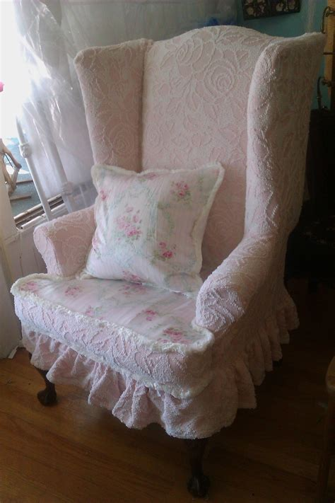 Linen Wingback Chair Design Ideas Flower Embos Linen Fabric For Wingback Chair Cover Combined With Shabby Chic Cushion Of