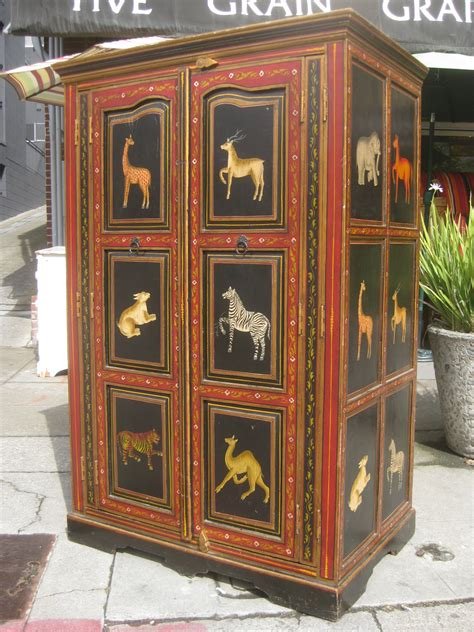 Indian Cabinet by Uhuru Furniture Collectibles Sold Painted Cabinet