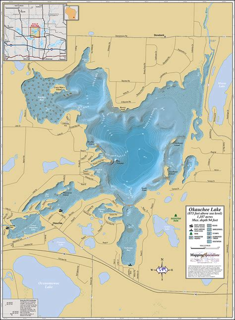 lake map okauchee lake wall map