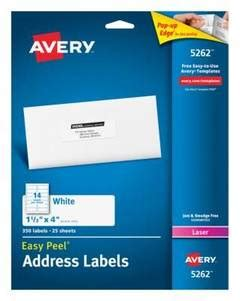 Cp Avery avery easy peel permanent laser address labels 1 13 x 4 white pack of 350 by office depot