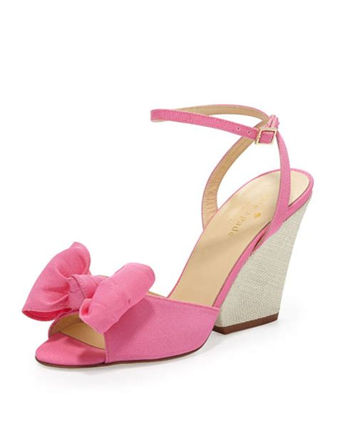 Sandal Bow Pink by Kate Spade New York Iberis Bow Wedge Sandal Zinia Pink