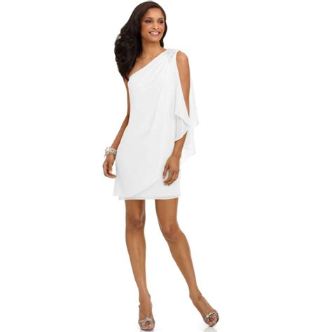 draped white dress js boutique one shoulder draped evening dress in white lyst