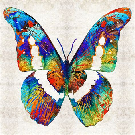 colorful butterfly print from painting primary colors butterflies wing abstract bug canvas