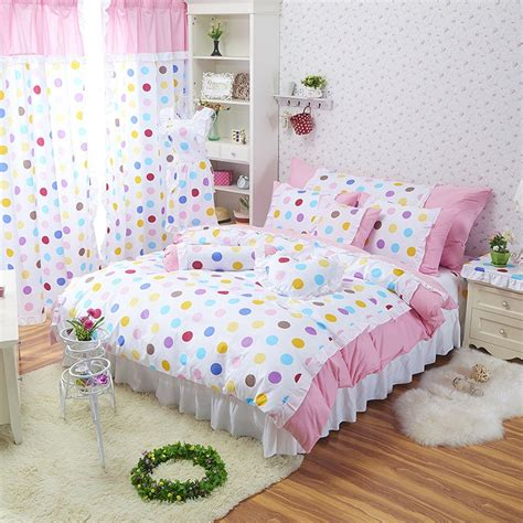 polka dot bedding rainbow polka dot girls princess room ruffle bedding girls lace ruffle bedding
