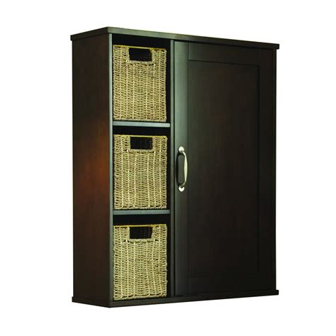 Lowes Bathroom Storage Cabinets Shop Allen Roth Tanglewood Brown Wall Cabinet Common 24 75 In Actual 24 75 In At