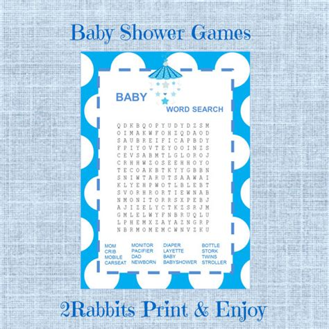 D Search Baby Shower Word Search Boy Baby Shower Crossword Puzzle
