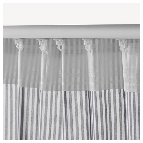 White And Silver Valance Gulsporre Curtains 1 Pair White Grey 145x250 Cm Ikea