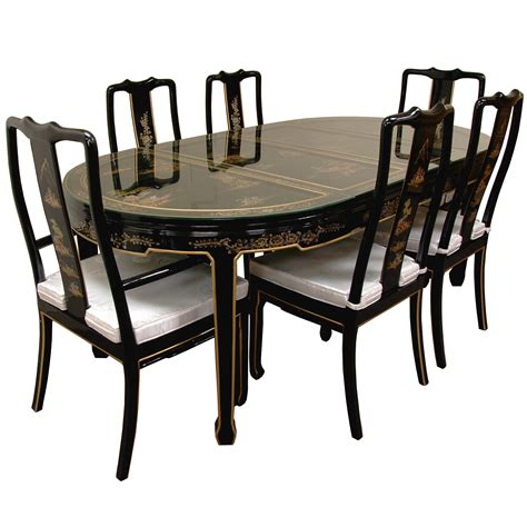 black lacquer dining room table buy hand painted on black lacquer dining table w 6 chairs