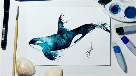 watercolor orca tutorial speed drawing whale watercolor speedpaint youtube