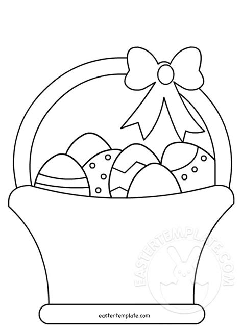Easter Picture Templates easter basket with eggs coloring page easter template
