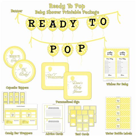 ready to pop baby shower printable package yellow white