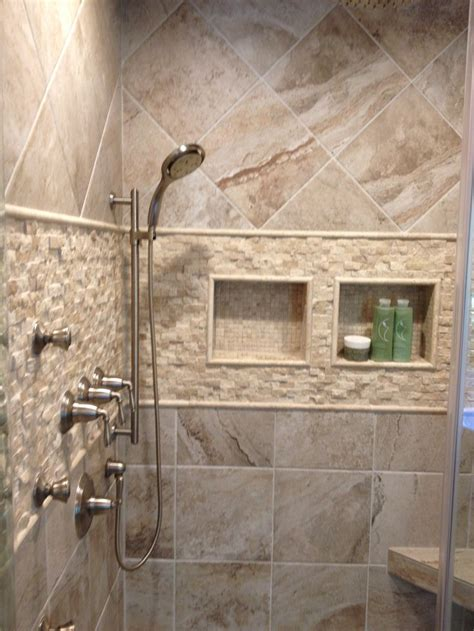 porcelain tile bathroom ideas mikonos coral sand porcelain tiles installed in a shower with accents decor ideas