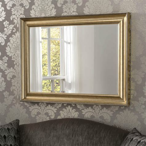 yg silver modern rectangle wall mirror  stepped