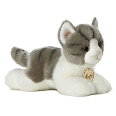 realistic stuffed realistic stuffed gray cat 8 inch plush tabby cat by