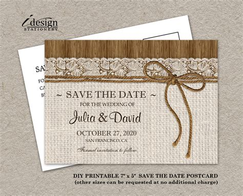 diy save the date postcard templates diy printable rustic wedding save the date cards with burlap