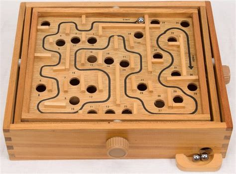 vintage wooden labyrinth tilting balance maze game