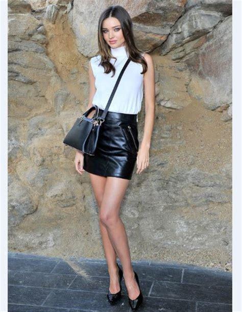 skirt miranda kerr pumps top leather mini skirt