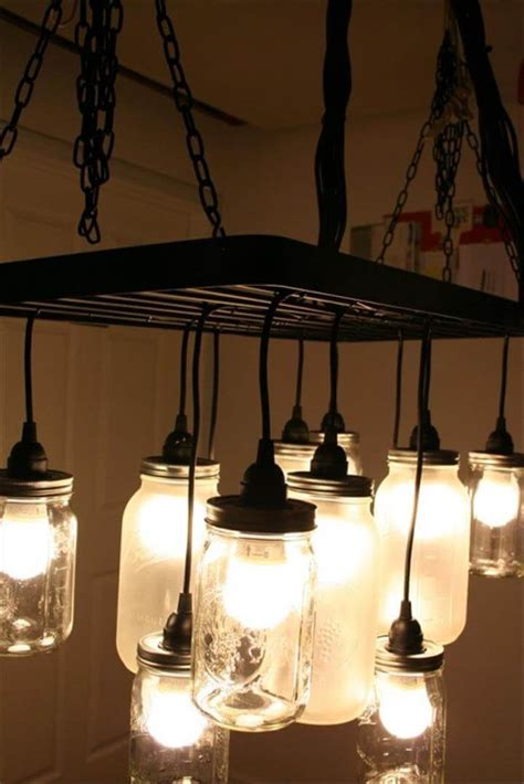 35 Mason Jar Lights Do It Yourself Ideas Diy To Make Make Chandelier
