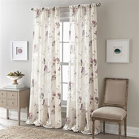 bed bath and beyond drapes and curtains buy zen floral 84 inch rod pocket semi sheer window